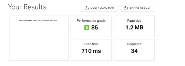 Pingdom speed test after installing and activating WP Rocket, showing a load time of 710 milliseconds and other factors