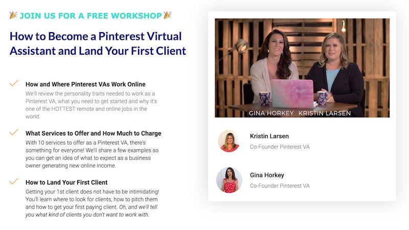 Pinterest virtual assistant free workshop