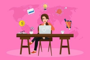 Illustration Of Woman At A Table In Front Of Her Laptop With Several Icons Floating Behind Her, Contemplating Scopist Jobs