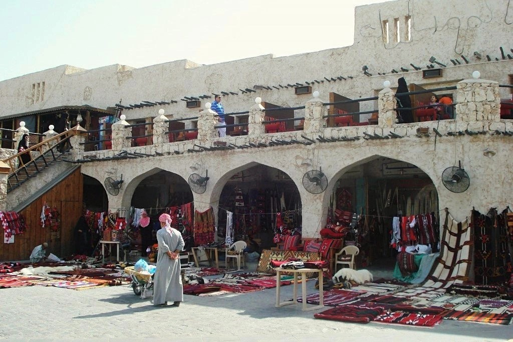Rugs And Other Goods Set Out On The Ground At Souq Waqif In Doha, Qatar