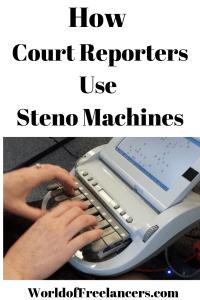 Court reporter typing on steno machine