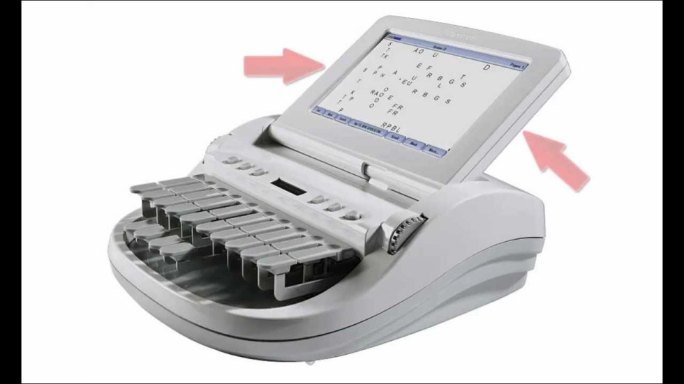 One of the many steno machines stenographic court reporters use to create accurate verbatim records of spoken testimony