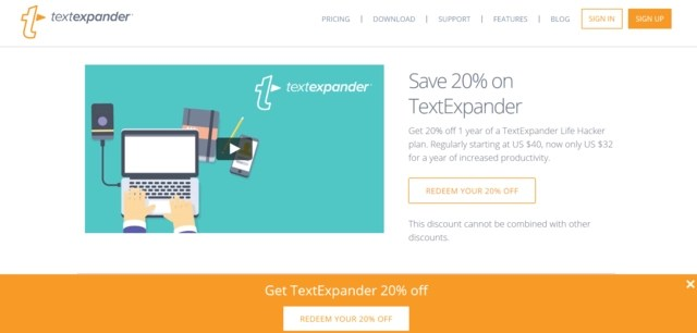 Sales page for 20% off of TextExpander productivity software