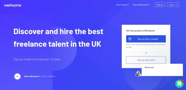 Worksome job search website home page