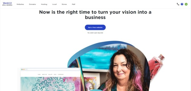 Yahoo Small Business Websites homepage