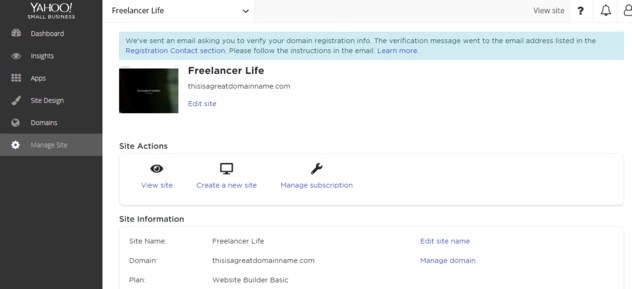 Yahoo Small Business Websites dashboard