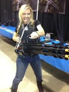 Backstage with a prop weapon