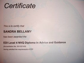 Sandra Bellamy holds an Information, Advice and Guidance Diploma