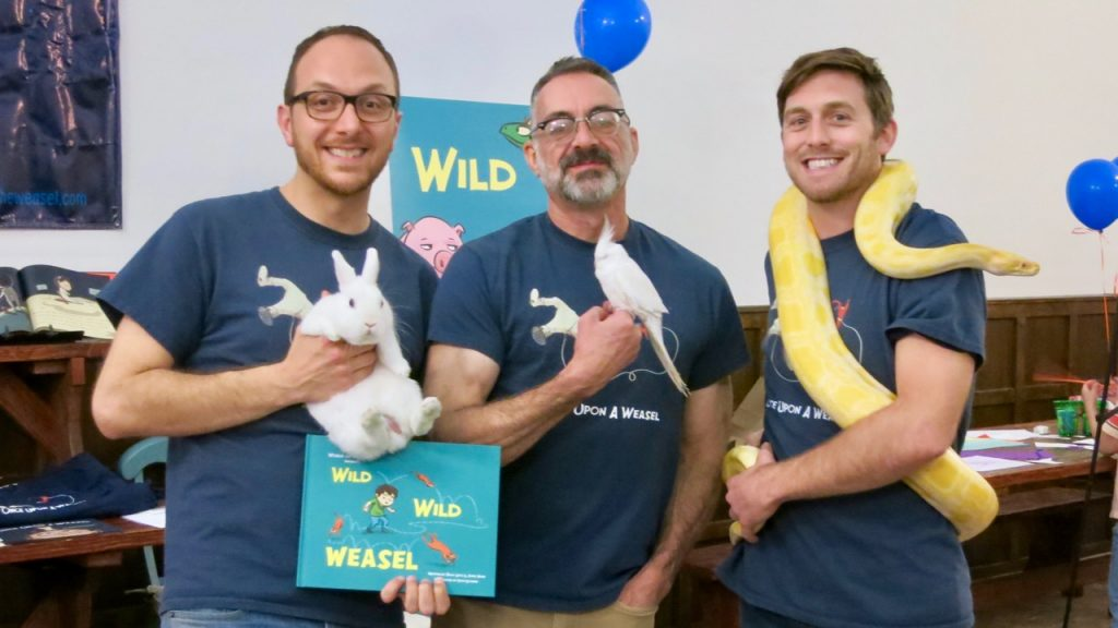 Salvo, James, and Dave with animals from Wild Wild Weasel.