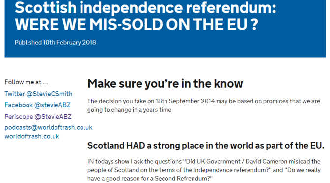Was Scotland Mis-Sold remaining in the UK RE #Brexit (ABZ Archive)