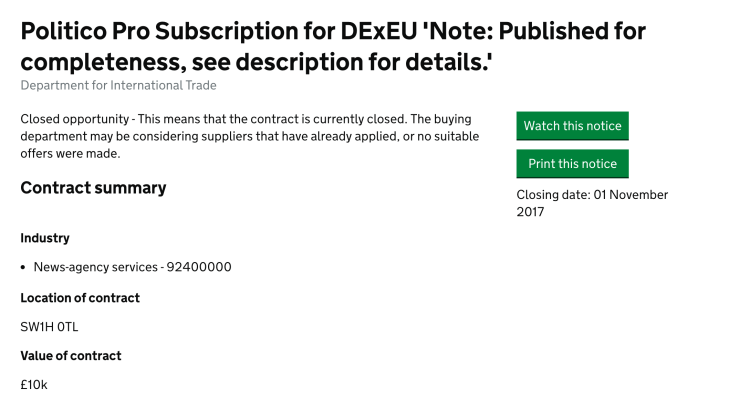 Department for Exiting the EU Spends 10k on Politico Pro subscriptions
