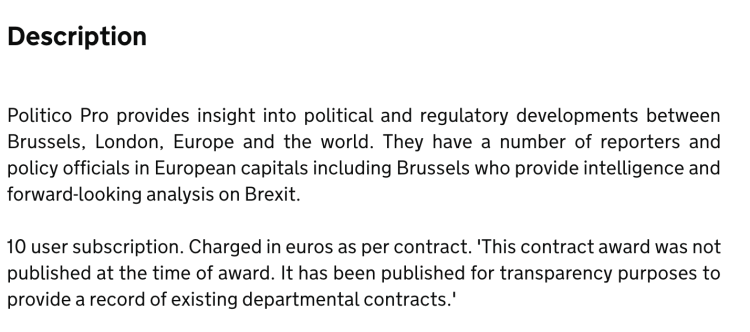 Department for Exiting the EU Spends 10k on Politico Pro subscriptions - details