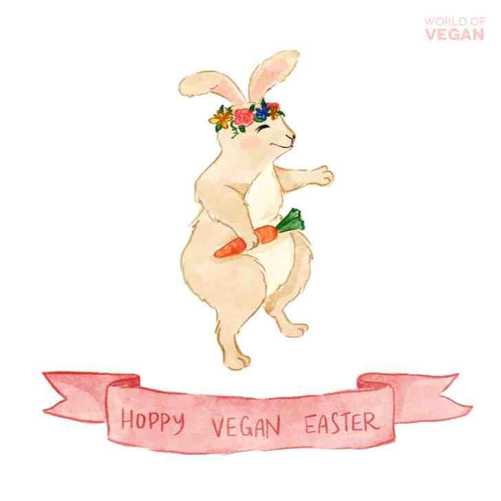 Vegan Easter Bunny in a Flower Crown | WorldofVegan.com | Guide to Vegan Easter | #vegan #easter #spring #holiday #vegetarian #bunny #rabbit #art #animals #illustration