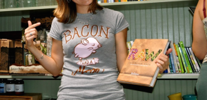 roots of compassion vegan shirt bacon had a mom
