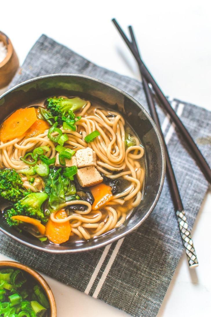 Miso Noodle Soup Bowl Close Up