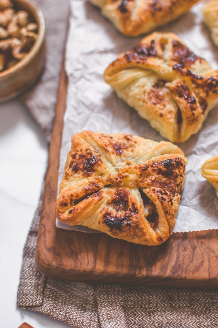 Close-up of the Vegan Apple Walnut Pastry Purses