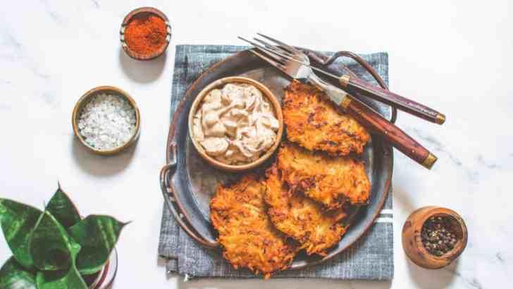 Vegan Latkes & Caramelized Onion Dip