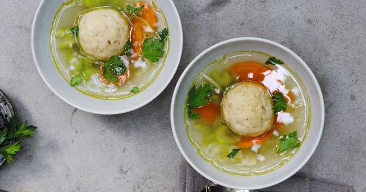 Vegan Matzo Ball Soup Recipe | How to Celebrate A Vegan Passover Seder | WorldofVegan.com |