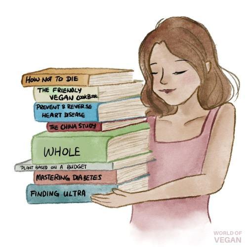 Best Vegan Cookbooks Art Woman Holding A Stack of Books Illustration