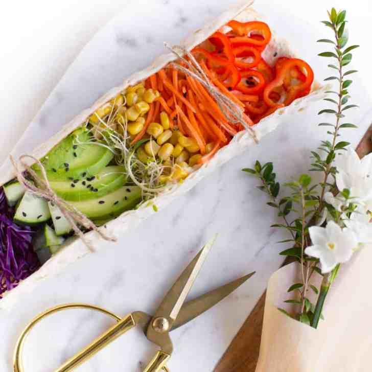 Rainbow Lavash | Rainbow Veggie Wraps With Hummus | WorldofVegan.com | #vegan #lunch #recipe #rainbow #veggies #healthy #food #worldofvegan #photography
