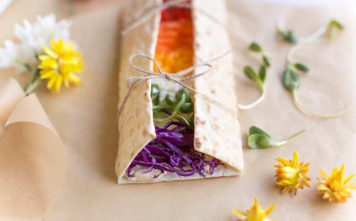 Rainbow Wraps | Hummus on California Lavash With Colorful Veggies | WorldofVegan.com | #vegan #vegetarian #rainbow #pride #healthy