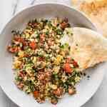 Garlicky Tofu Tabbouleh   Easy Fresh Lunch Idea   WorldofVegan.com   #tabbouleh #bulgur #salad #tofu #veganlunch #middleeasternvegan #mediterraneanvegan