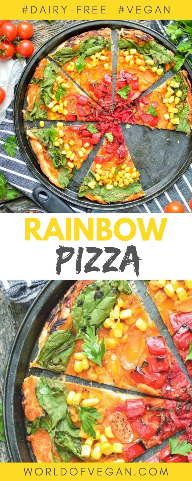 Vegan Rainbow Pizza | Easy & Quick Dinner Recipe | World of Vegan | #healthy #pizza #dairyfree #quick #easy #italian #worldofvegan