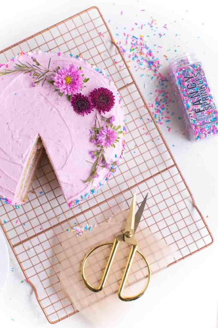 Vegan Birthday Cake | Confetti Cake With Fancy Sprinkles | WorldofVegan.com | #vegan #cake #birthday #confetti #baking #recipe #food