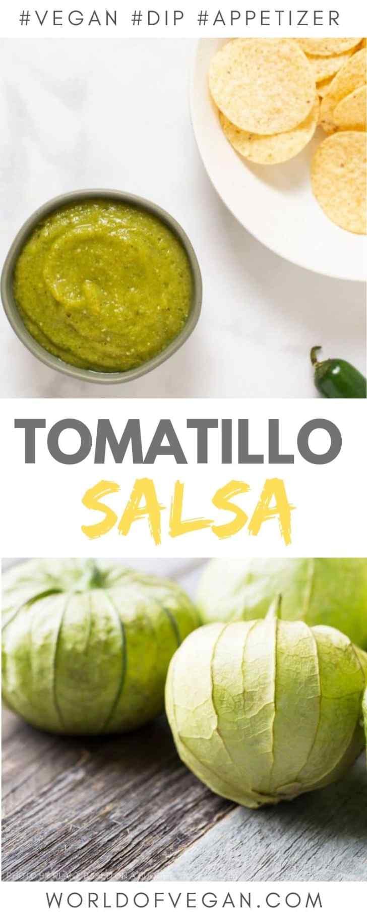 Easy Tomatillo Salsa Recipe | World of Vegan | #salsa #tomatillo #appetizer #mexican #worldofvegan