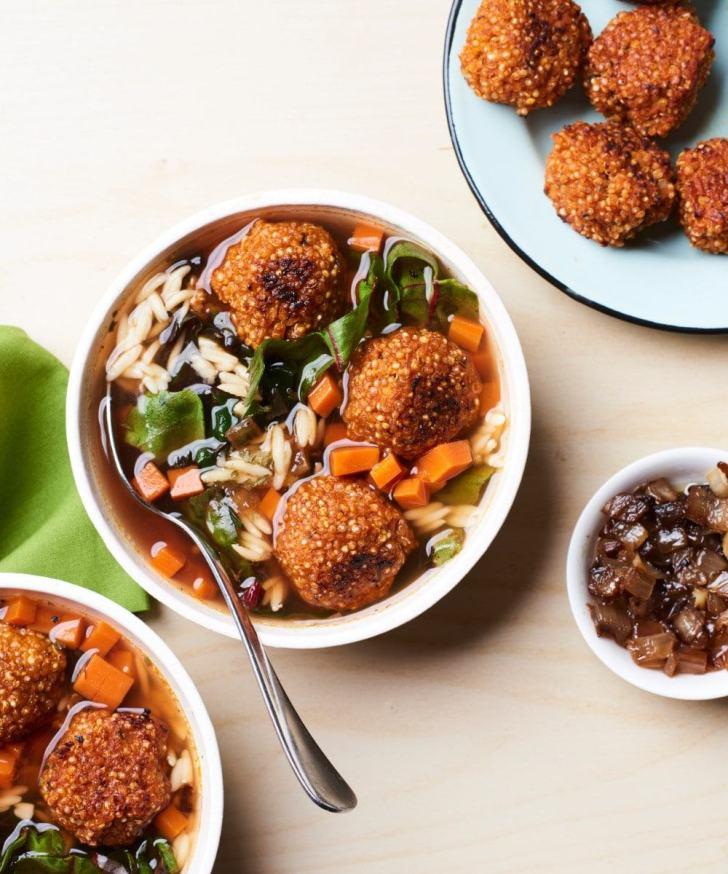 Italian Wedding Soup with Quinoa Meatballs | Vegan in College | World of Vegan | #soup #college #recipes #meatballs #quinoa #healthy #worldofvegan