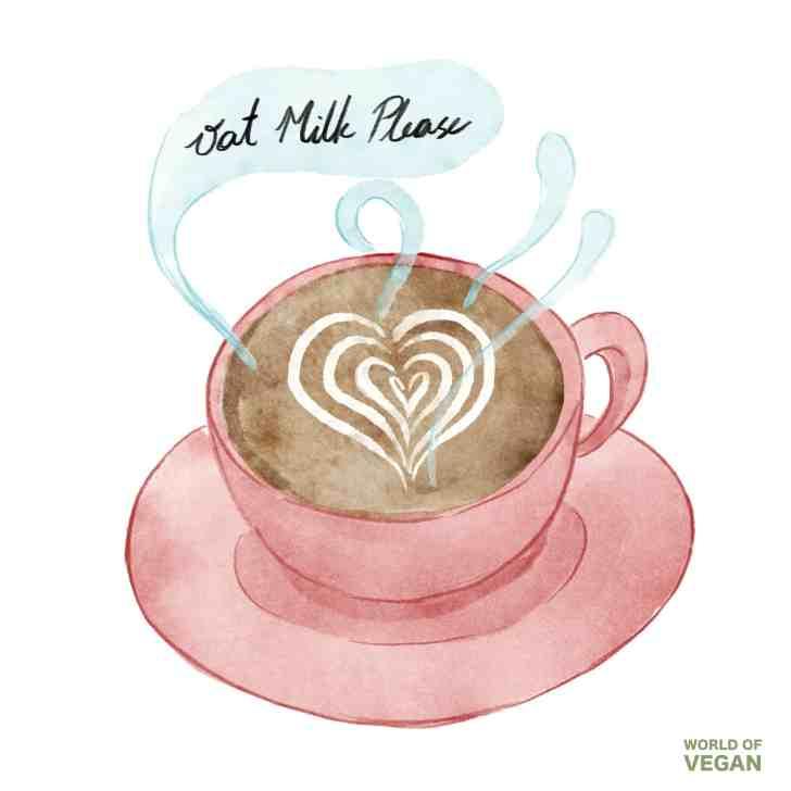 Oat Milk Latte Illustration | WorldofVegan.com