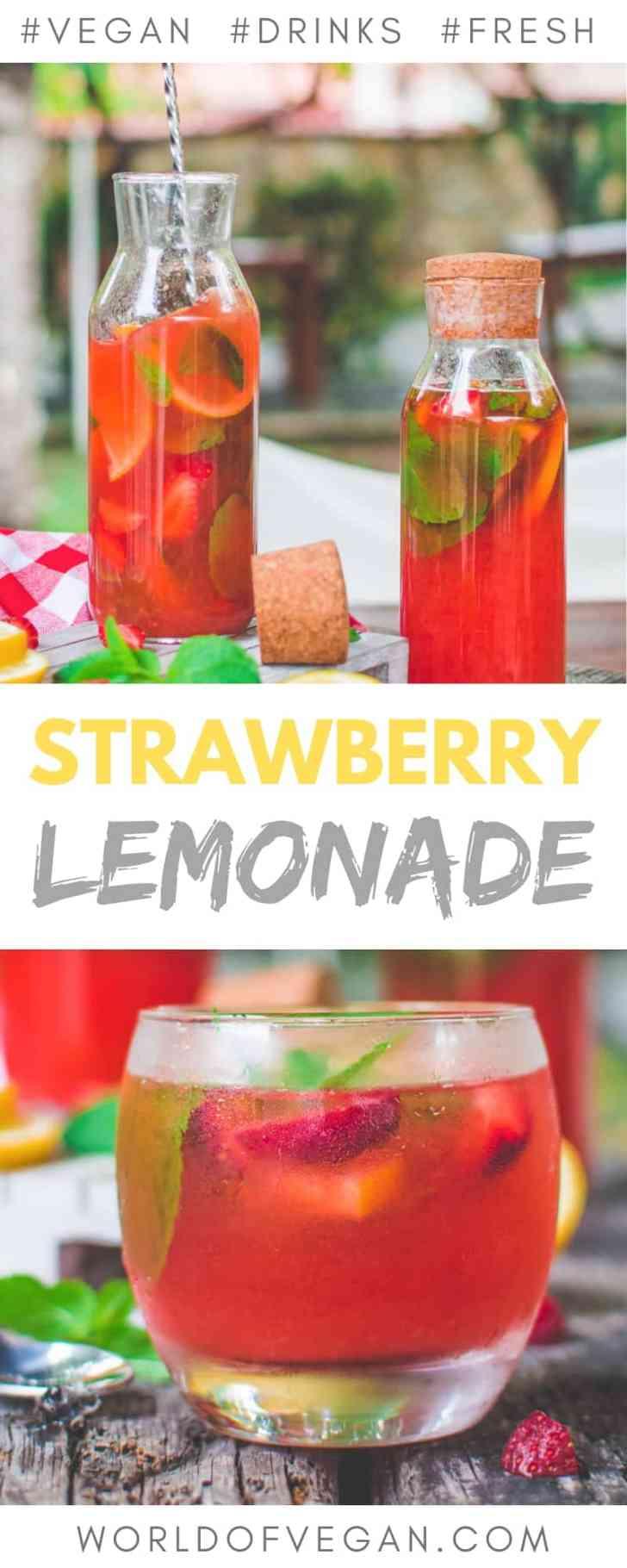 Fresh Strawberry Mint Lemonade   World of Vegan   #lemonade #strawberries #lemon #mint #fresh #drink #water #fruits #worldofvegan