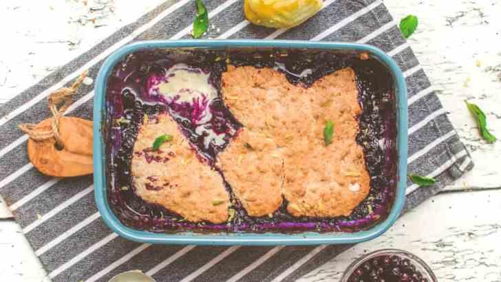 Super-Easy Vegan Blueberry Cobbler