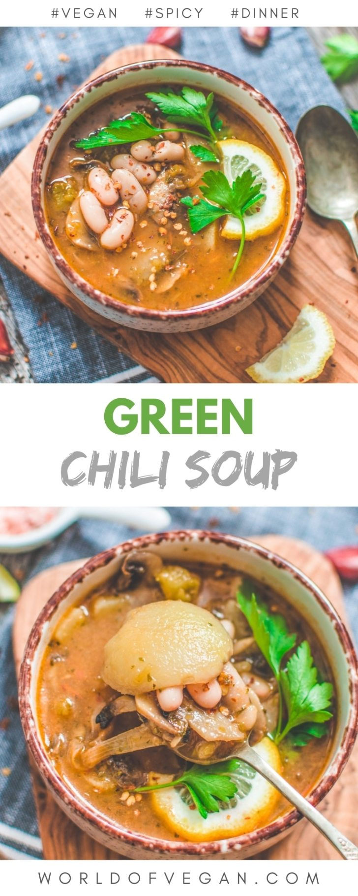 Hearty Vegan Green Chili Soup with Cannellini Beans