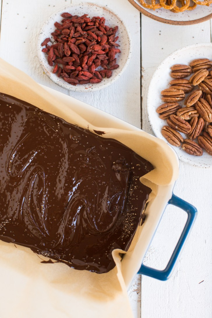 Superfood Chocolate Bark with Pecans and Goji Berries