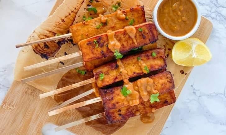 Vegan Tofu Satay With Peanut Sauce by MegUnprocessed