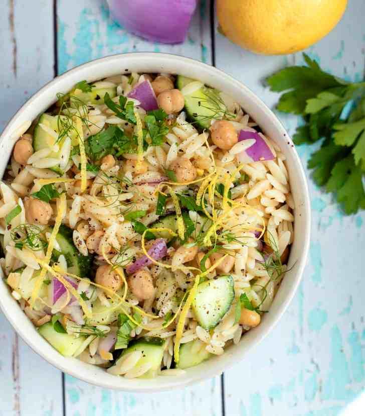 Herby Vegan Chickpea Orzo Salad
