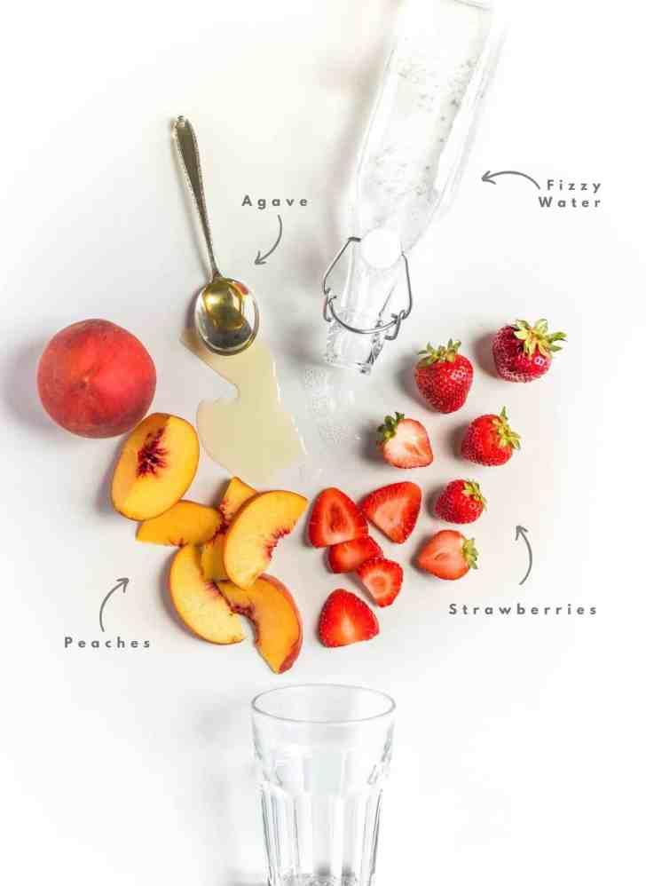 Strawberry Peach Spritzer Drink Ingredient Flatlay