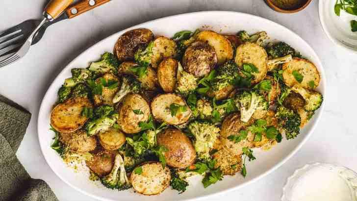 Vegan Cheesy Potatoes and Broccoli