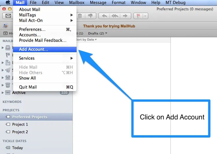Apple Mail  - Add Account