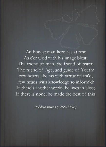 Robert Burns Poem - Grief