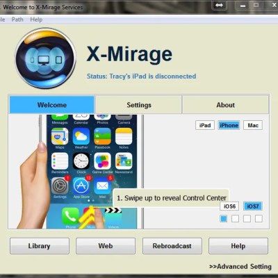 X-Mirage Welcome Screen