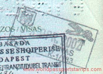 Albania 2002 - crossing the border at the airport, passport stamp