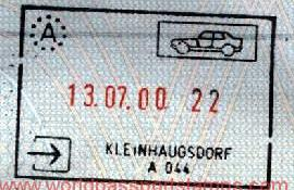 Austria - entry stamp, 2000