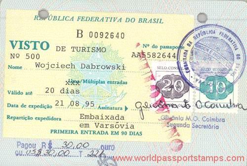 Brazil - visa, 1995 — World of Passport Stamps