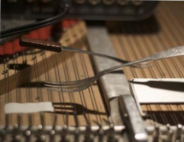 objects used on strings of prepared piano