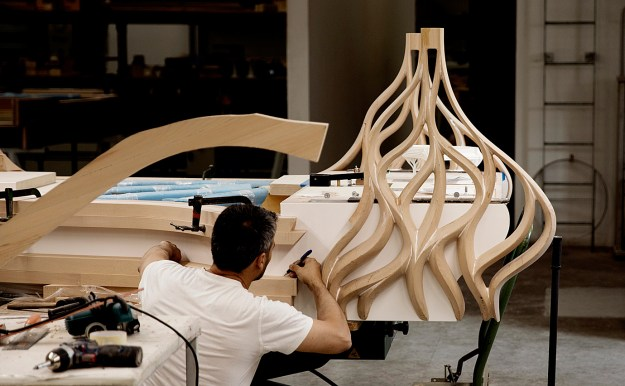 the Butterfly piano's casework construction