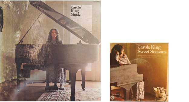 """photos of King's """"Music"""" album and her """"Sweet Seasons"""" single sleeves"""