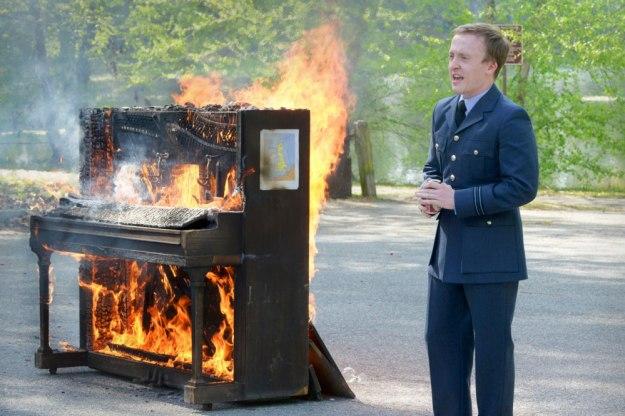 Flight Lt. Euan McFalls and the burning piano