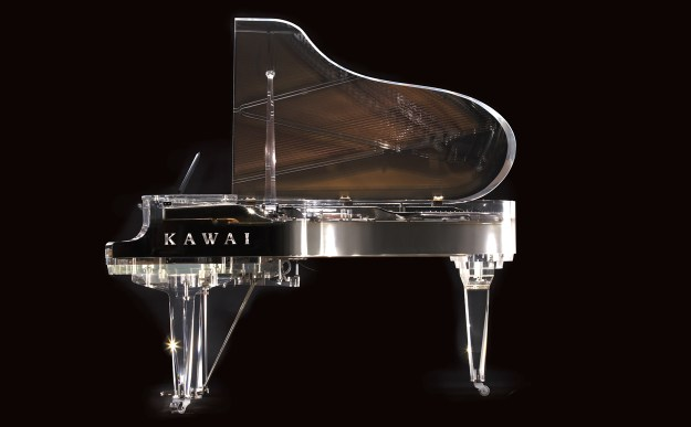 Side elevation view of Kawai's Crystal Grand piano (CR-1M)